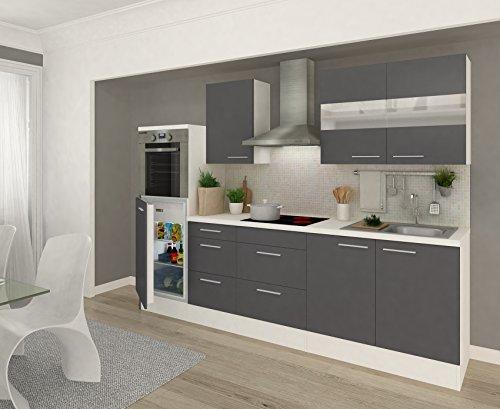 respekta Küchenleerblock 270 cm weiß Fronten Grau Hochglanz