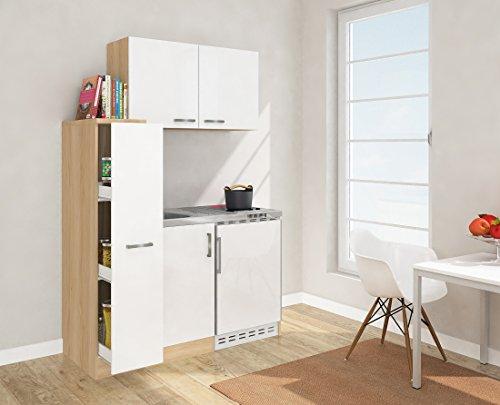 respekta Mini Küche Singleküche 130 cm inkl. Oberschrank Eiche Sägerau Nachbildung Ceran Front weiß MK 130 ESWOSC