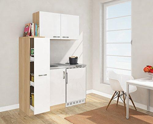 respekta Mini Küche Singleküche 130 cm inkl. Oberschrank Eiche Sägerau Nachbildung Front weiß MK 130 ESWOS