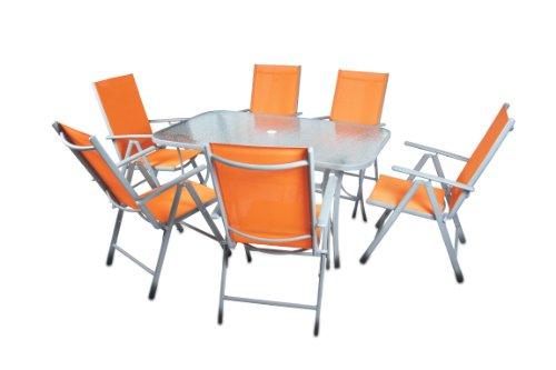 7 teiliges gartenmbel set gartengarnitur sitzgruppe sitzgarnitur aus gartensthlen esstisch. Black Bedroom Furniture Sets. Home Design Ideas