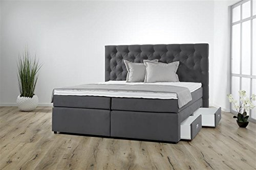 Breckle Boxspringbett 180 x 200 cm Lerche Box Split Hollanda 1000 TFK Topper Gel Premium Standard