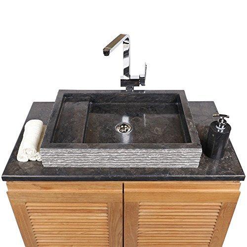WOHNFREUDEN Marmor Waschbecken 60 cm ✓ recht-eckig anthrazit ✓ Steinwaschbecken oder Naturstein-Waschbecken für Bad Gäste WC ✓ inkl. techn. Zeichnung ✓ schnell & versandkostenfrei ✓