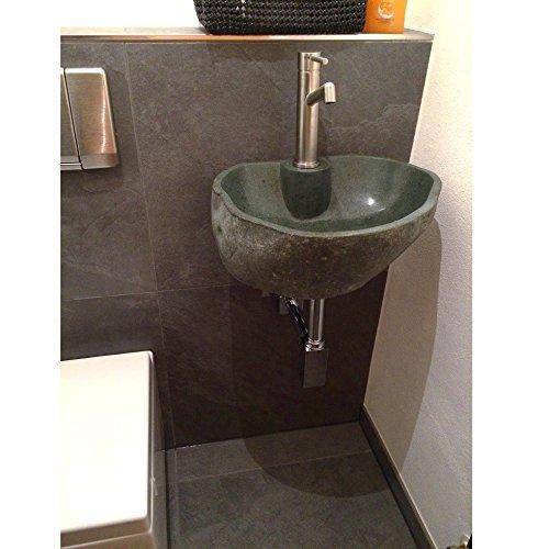 WOHNFREUDEN Naturstein Waschbecken Set inkl Wandhalterung aus Metall ✓ Steinwaschbecken mit Loch für Armatur ✓ Waschplatz Set für Gäste WC oder kleines Bad ✓ versandkostenfrei