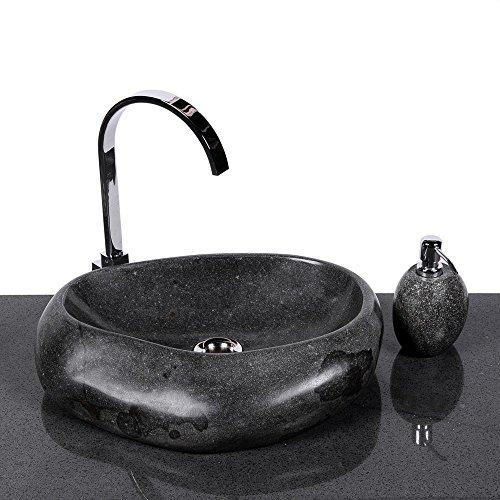 wohnfreuden naturstein waschbecken wave 40 cm aus stein aussen poliert aufsatzwaschbecken. Black Bedroom Furniture Sets. Home Design Ideas