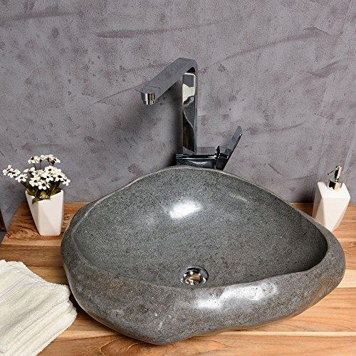 WOHNFREUDEN Naturstein Waschbecken aus Flussstein rund oval 40-50 cm rundum poliert ♥ Steinwaschbecken für Bad Gäste WC ✓ sicher + versandkostenfrei ✓ Waschbecken aus Stein Findling Granit ✓