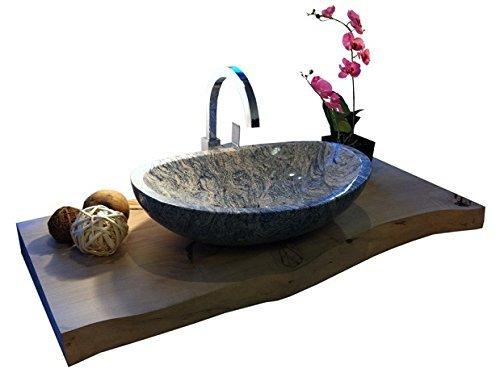 Waschbecken aus Naturstein, Granit, Model Monaco, Juparana, 56x38cm