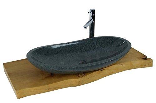 Waschbecken aus Naturstein, Granit, Model Monaco groß, anthrazit, G654, 80x43cm