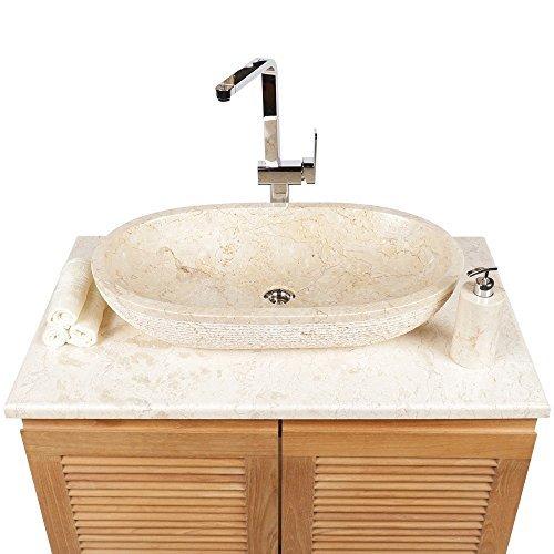 Wohnfreuden Marmor Naturstein Handwaschbecken Aufsatz-Waschbecken Steinwaschbecken oval creme 70 cm