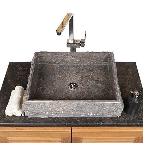 Wohnfreuden Naturstein Marmor Aufsatz-Waschbecken Steinwaschbecken Waschschale Handwaschbecken eckig 50 cm grau