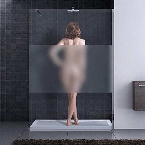 110x200 cm Luxus Duschwand aus Echtglas Bremen1MS, ESG Sicherheitsglas satiniert, inkl. Nanobeschichtung, Duschabtrennung, Dusche, Walk-In Dusche