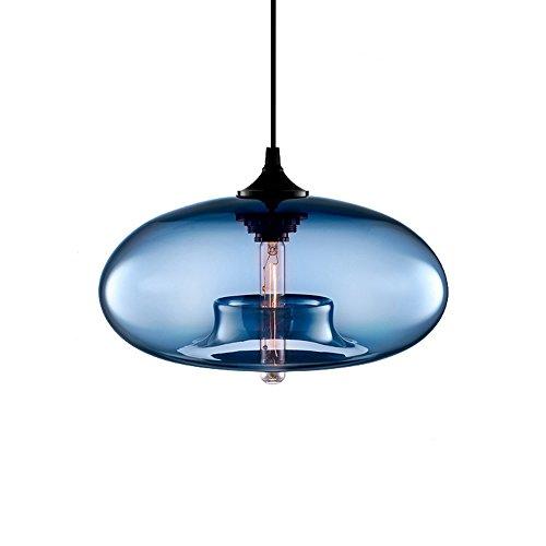Wings of Wind - Industrie-Weinlese -Leuchter E27 Pendelleuchte Deckenleuchte Bunte Glaskäfig (Blau)