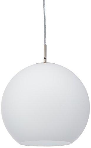 Reality Leuchten Pendelleuchte Pendellampe in nickel matt, Glas opal weiß, 1x E27 maximal 60 W ohne Leuchmittel, Durchmesser 30 cm, Anhängung maximal 150 cm R30153007