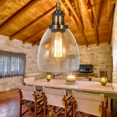 Tomshine Glas Pendelleuchte Hängelampe Metall Vintage Retro E27 Birne für Küche Wohnzimmer Büro