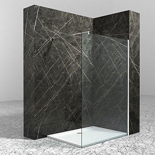 BxH: 80x200 cm | Korpusbad® Glas-Duschwand Walk-In Dusche Sylt02K-800 aus 10mm ESG Sicherheitsglas klarglas | runder Stabilisator (SDW11) edel verchromt | inkl. Nano-Beschichtung