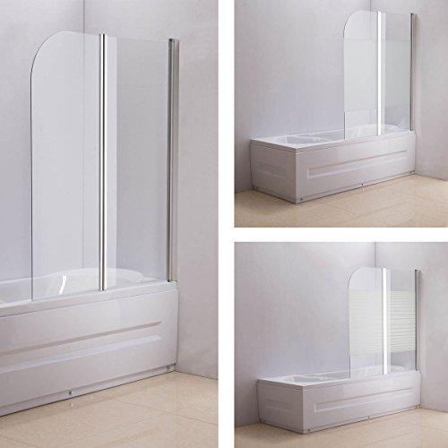 CLP NANO Duschabtrennung für die Badewanne | Faltbarer Badewannenaufsatz aus Sicherheisglas | 2 teilige Duschwand