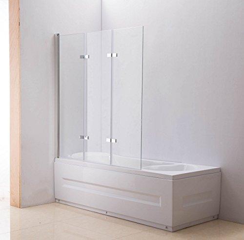 CLP NANO Duschabtrennung für die Badewanne | Faltbarer Badewannenaufsatz aus Sicherheisglas | 3 teilige Duschwand