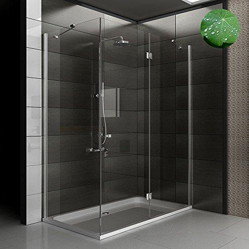 Duschkabine 80x140 cm mit Seiteneinstieg aus ESG Nano Glas und Drehtür von Alpenberger