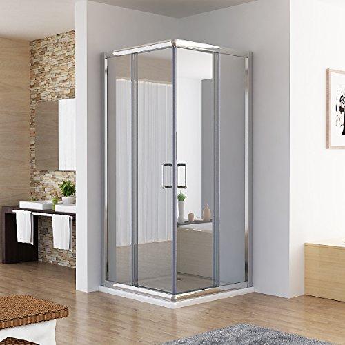 Duschkabine Dusche Duschwand Schiebetür Eckeinstieg Echtglas 80 x 80 x 195cm