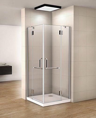 Duschkabine Eckeinstieg Duschabtrennung 8mm NANO Duschtür Drehtür Duschwand HN-SE