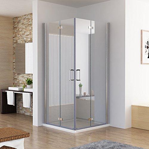 Duschkabine Eckeinstieg Dusche Falttür 180º Duschwand Duschabtrennung NANO Glas