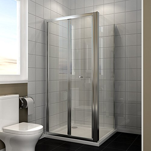 Duschkabine in Nische Nischentür Falttür mit Seitenwand Duschtür Duschwand glas faltbar mit Duschtasse