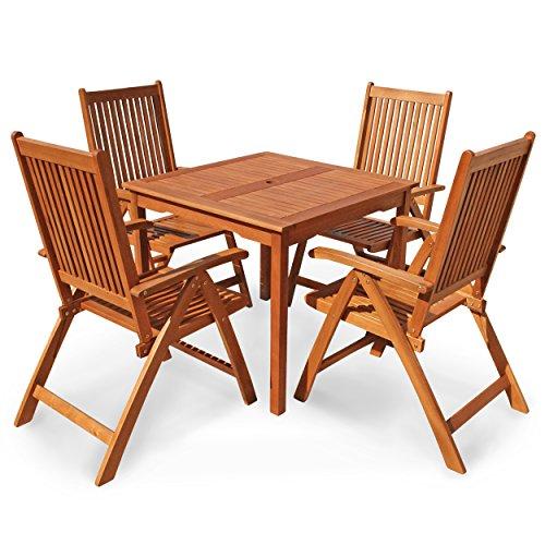 """Indoba Gartenmöbel Set, 5-teilig """"Bangor"""" - Gartenset - Serie Bangor, braun, 85 x 85 x 74 cm, IND-70079-BASE5Q"""