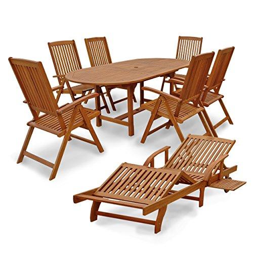 """Indoba Gartenmöbel Set, 8-teilig """"Sun Shine"""" - Gartenset - Serie, braun, 200 x 100 x 74 cm, IND-70313-SFSE8SL"""