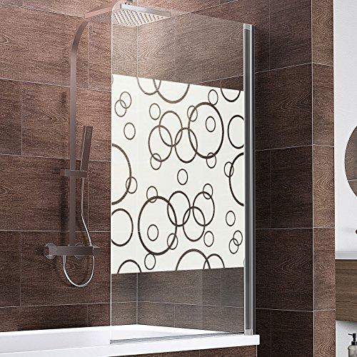Schulte Duschwand Berlin, 80x140 cm, 5 mm Sicherheitsglas, verschiedene Glasarten, verschiedene Profilfarben, Duschabtrennung für Badewanne
