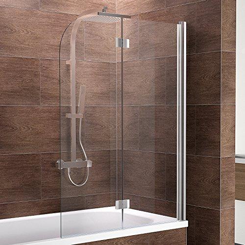 Schulte Duschwand Breathe, verschiedene Größen, 2-teilig faltbar, Sicherheitsglas klar 6 mm, Profilfarbe chrom-optik, Duschabtrennung für Badewanne
