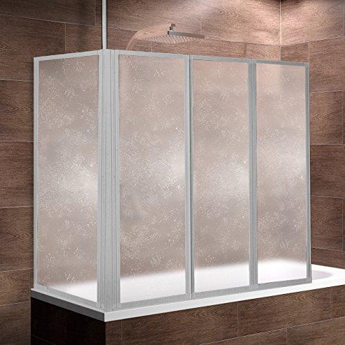 Schulte Duschwand Well mit und ohne Seitenwand, 3-teilig faltbar, Kunstglas Tropfen-Dekor, Profilfarbe alu-natur oder alpinweiß, Duschabtrennung für Badewanne