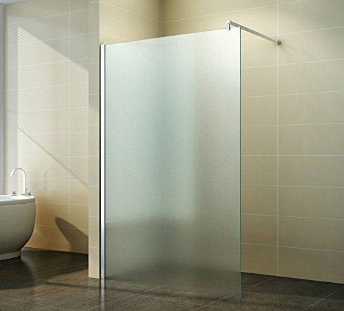 Walk in Duschabtrennung | Vollsatiniert | Milchglas | Duschwand | Dusche Glas | freistehend Seitenwand | Nano Beschichtung | Apperl-Effekt | Duschtrennwand | Glasscheibe | Duschkabine Klarglas | 10 mm ESG | 40 cm bis 160 cm | Jupiter