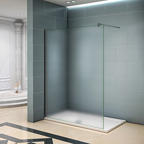 Walk in Duschwand Duschtrennwand 6mm Easy-clean Nano Milchglas Satiniertes Glas mit Stabilisierungsstange