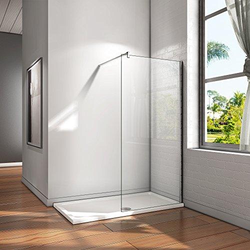 Walk in Duschwand Duschtrennwand 8mm Easy-clean Nano Glas Duschabtrennung mit Stabilisierungsstange