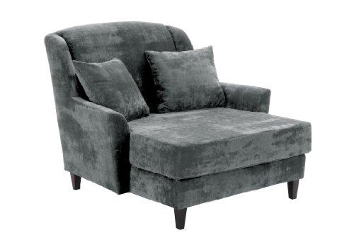 Max Winzer 2762-1100-2044116 Love-Seat Jana, Gemütlicher Einzelsessel im XXL-Format,Samtvelour, grau