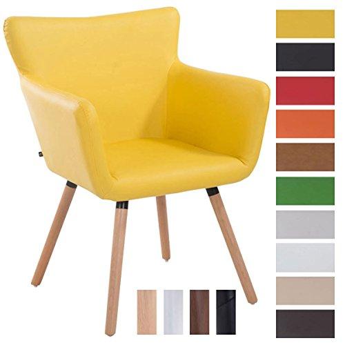 CLP Esszimmerstuhl ANTWERPEN mit hochwertiger Polsterung und Kunstlederbezug | Konferenzstuhl mit Holzgestell und Bodenschonern | Polsterstuhl mit einer maximalen Belastbarkeit von 160 kg und einer Sitzhöhe von 46 cm | Freie Farbwahl Gelb, Gestellfarbe: Natura