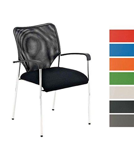 CLP Konferenzstuhl CUBA mit Stoffbezug und hochwertigem Sitzpolster | Besucherstuhl mit Armlehne und Metallgestell Schwarz