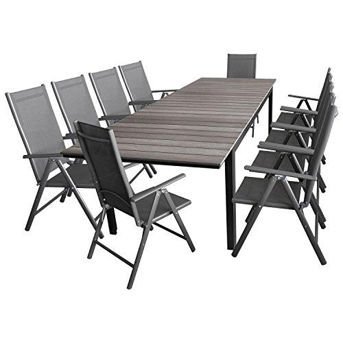 11tlg. Gartengarnitur Sitzgruppe Terrassenmöbel Gartenmöbel Set - Gartentisch, Polywood-Tischplatte grau, ausziehbar, 200/250/300x95cm + 10x Gartenstuhl, klappbar, 7-fach verstellbar, 2x2 Textilenbespannung