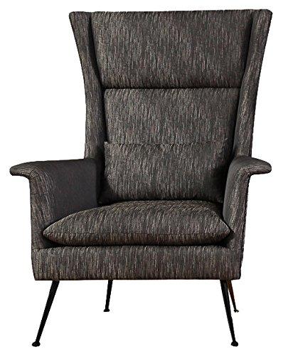 SIT-Möbel 6018-21 Sessel aus Stoff, Beine aus Stahl, anthrazitfarbener Ruhesessel, 89 x 86 x 115 cm