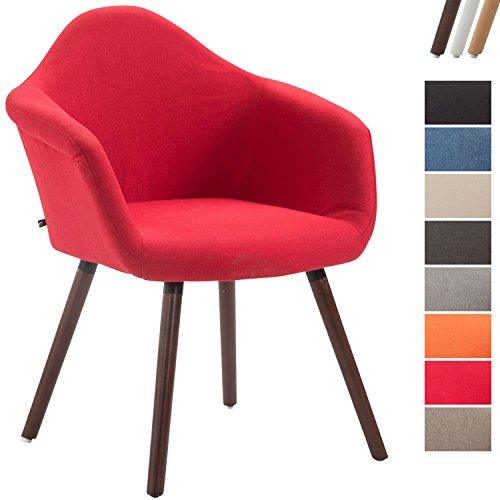 CLP Esszimmerstuhl TITO mit hochwertiger Polsterung und Stoffbezug | Sessel mit robustem Holzgestell aus Buchenholz | In verschiedenen Farben erhältlich Rot, Gestellfarbe: Walnuss