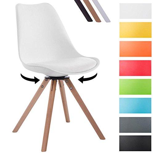 CLP Retrostuhl TROYES mit Kunstlederbezug und hochwertiger Sitzfäche | Stuhl mit drehbarem Schalensitz und massiven Holzbeinen | In verschiedenen Farben erhältlich Weiß, Holzgestell Farbe natura, Form rund