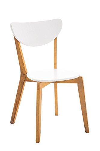 CLP Retro Esszimmerstuhl ARABIA mit Birkenholzgestell | Moderner Küchenstuhl (Skandinavisches Design) mit einer Sitzhöhe von 44 cm natura-weiß
