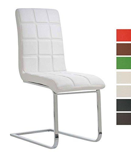 CLP Freischwinger EMILY mit hochwertiger Polsterung und Kunstlederbezug | Schwingstuhl mit Metallgestell und einer Sitzhöhe von: 50 cm | In verschiedenen Farben erhältlich Weiß