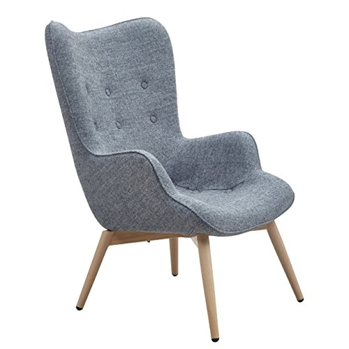Designer Ohren-Sessel mit Armlehnen aus Webstoff in Grau   Anjo   Club-Sessel im Retro-Design   Gestell aus Holz in Natur   68 x 41 x 92 cm