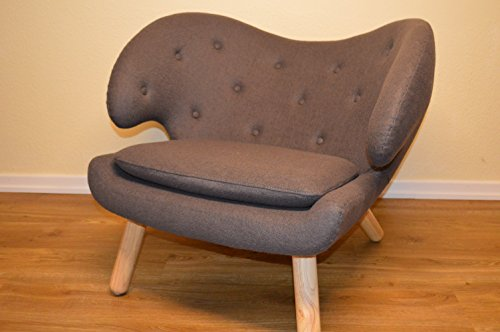 GoodView Design Sessel mit Armlehnen aus Fleece grau  Club-Sessel im Retro-Design   Sesselbeine aus Holz   Moderner Wohnzimmer-Sessel   Relax-Sessel