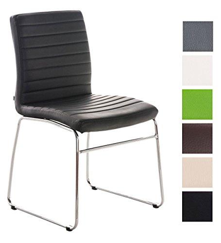 CLP Esszimmerstuhl LEA mit hochwertiger Polsterung und Kunstlederbezug | Küchenstuhl mit Bodenschonern und einer Sitzhöhe von: 47 cm | In verschiedenen Farben wählbar Schwarz