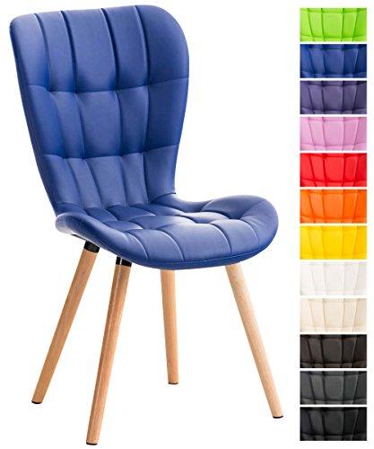 CLP Esszimmerstuhl ELDA mit hochwertiger Polsterung und Kunstlederbezug | Lehnstuhl mit robustem Holzgestell | Polsterstuhl mit stilvollen Ziernähten | In verschiedenen Farben erhältlich Blau