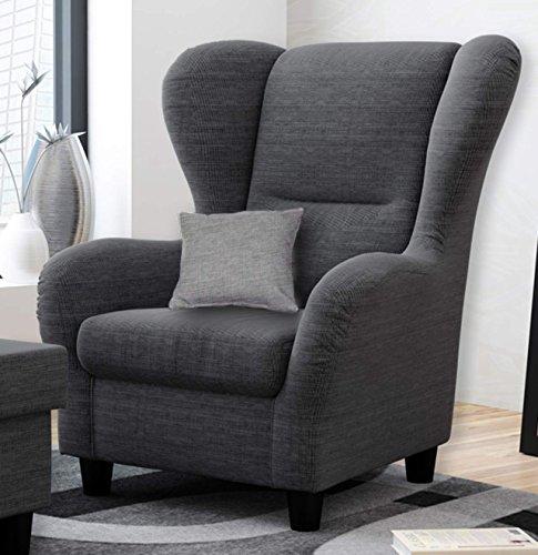 Ohrensessel grau   Relaxsessel   Fernsehsessel   Stoff   Zierkissen   schwarze Holzfüße   B/H/T ca. 90/98/76 cm