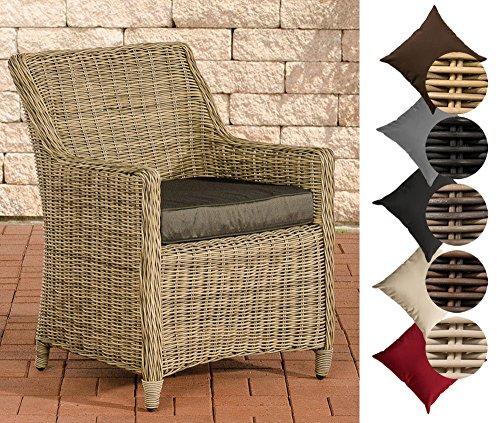 CLP Poly Rattan Garten-Sessel SANDNES, 5 mm RUND-Geflecht, Aluminium Gestell, 10 cm dickes Sitzkissen Rattan Farbe natura, Bezugfarbe: Anthrazit