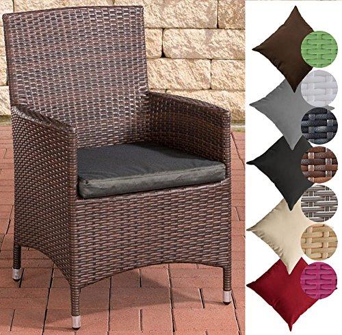 CLP Polyrattan-Gartenstuhl JULIA mit robustem Aluminium-Gestell | Gartenstuhl mit Sitzkissen | In verschiedenen Farben erhältlich