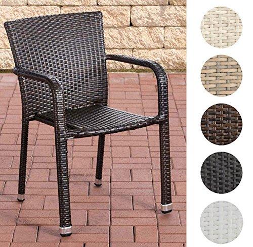 CLP Polyrattan-Gartenstuhl LEONIE | Outdoor-Stapelstuhl mit Armlehnen | Wetterbeständiger Gartenstuhl | In verschiedenen Farben erhältlich
